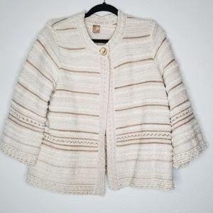 JM Collection Cream Gold Sparkle Cardigan Sweater